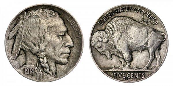 1914 D Indian Head Buffalo Nickel