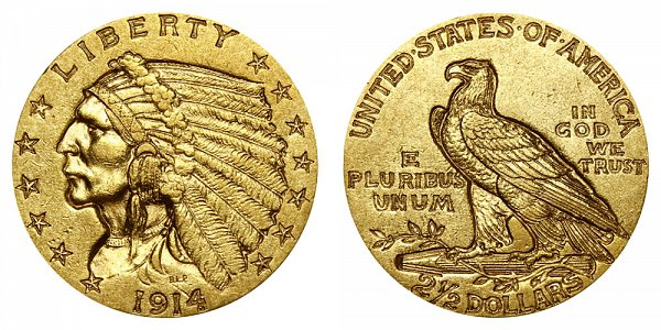 1914 Indian Head $2.50 Gold Quarter Eagle - 2 1/2 Dollars