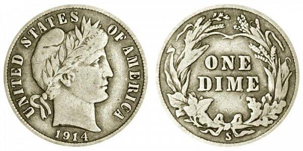 1914 S Silver Barber Dime