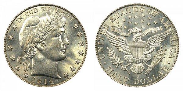 1914 S Barber Silver Half Dollar