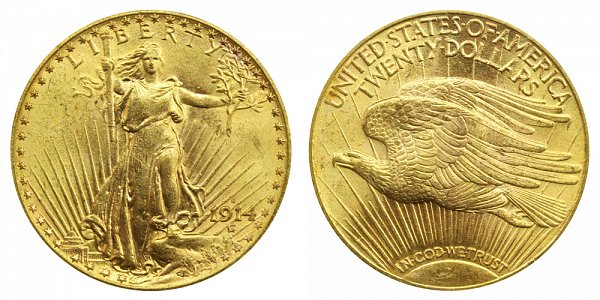 1914 S Saint Gaudens $20 Gold Double Eagle - Twenty Dollars