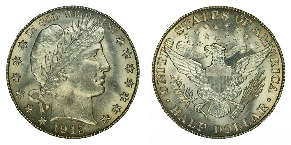 1915 Barber Silver Half Dollar