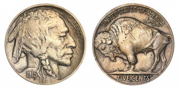 1915 D Indian Head Buffalo Nickel
