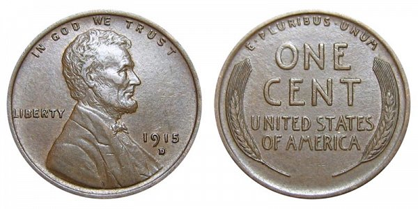1915 D Lincoln Wheat Cent Penny