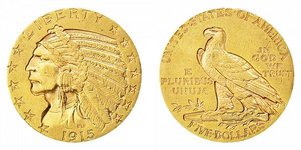 1915 Indian Head $5 Gold Half Eagle - Five Dollars