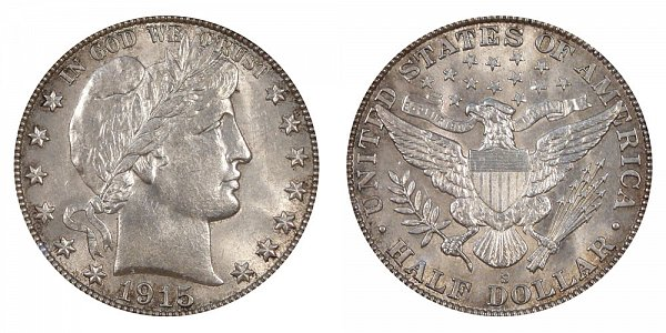 1915 S Barber Silver Half Dollar