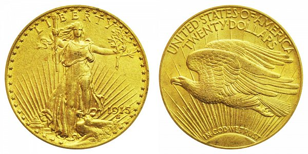 1915 Saint Gaudens $20 Gold Double Eagle - Twenty Dollars