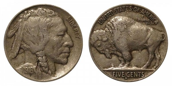 1916 D Indian Head Buffalo Nickel