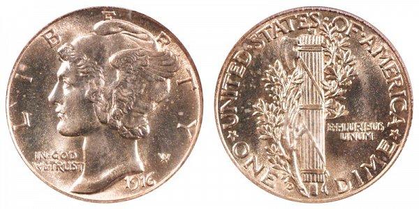 1916 D Silver Mercury Dime