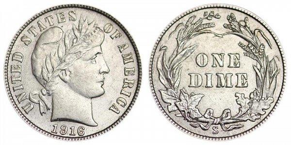 1916 S Silver Barber Dime