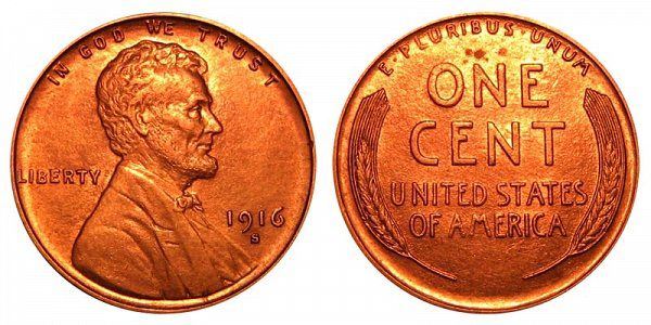 1916 S Lincoln Wheat Cent Penny