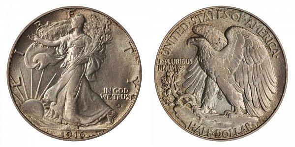 1916 S Walking Liberty Silver Half Dollar