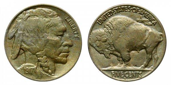 1917 D Indian Head Buffalo Nickel