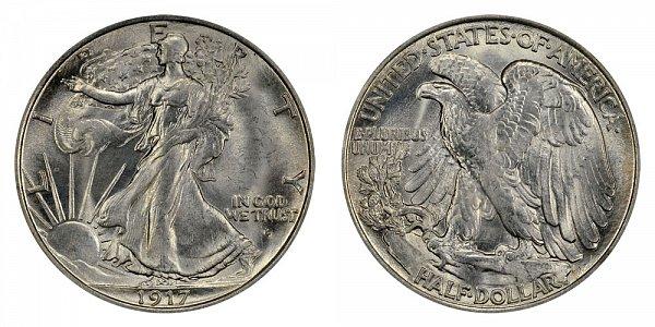 1917 D Walking Liberty Silver Half Dollar - Obverse Mint Mark