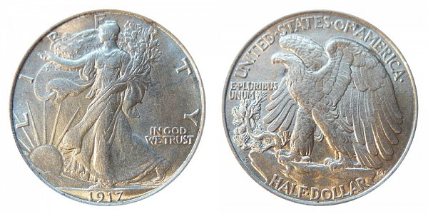 1917 D Walking Liberty Silver Half Dollar - Reverse Mint Mark