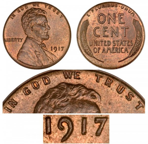 1917 Doubled Die Obverse Lincoln Wheat Cent Penny