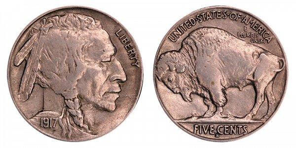 1917 S Indian Head Buffalo Nickel