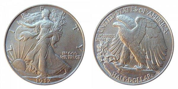 1917 S Walking Liberty Silver Half Dollar - Reverse Mint Mark