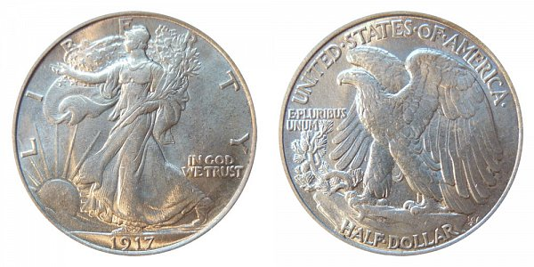 1917 Walking Liberty Silver Half Dollar