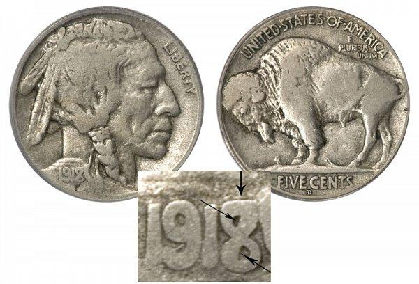 1918 D 8 Over 7 8/7 Indian Head Buffalo Nickel