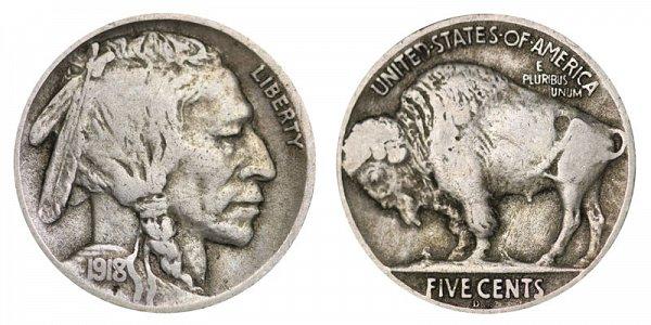 1918 D Indian Head Buffalo Nickel