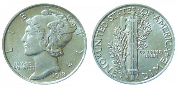 1918 D Silver Mercury Dime