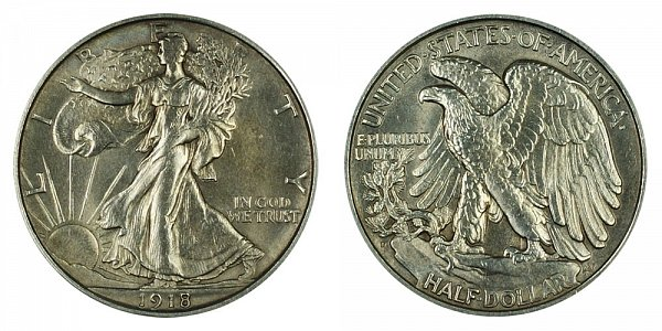 1918 D Walking Liberty Silver Half Dollar