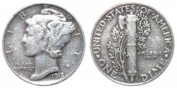 1918 Silver Mercury Dime