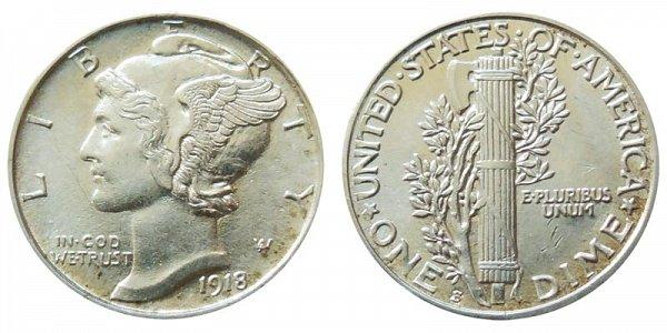 1918 S Silver Mercury Dime