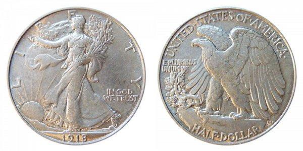 1918 S Walking Liberty Silver Half Dollar
