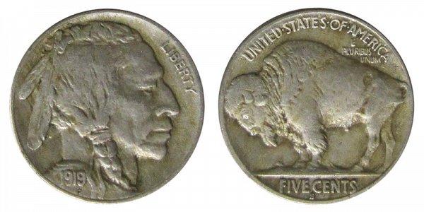 1919 S Indian Head Buffalo Nickel