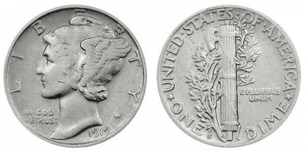 1919 S Silver Mercury Dime