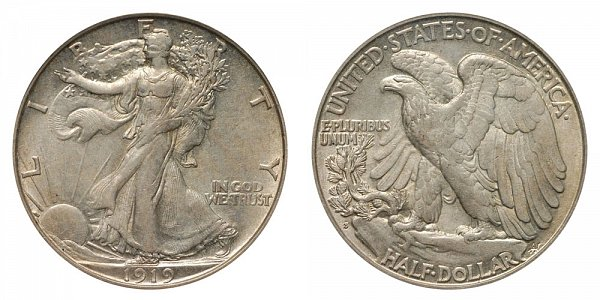 1919 S Walking Liberty Silver Half Dollar