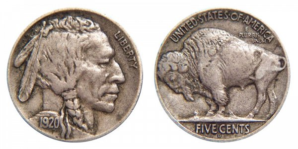 1920 D Indian Head Buffalo Nickel