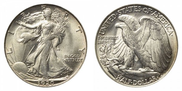1920 D Walking Liberty Silver Half Dollar