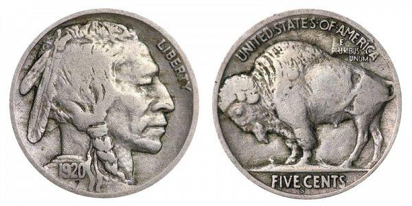 1920 S Indian Head Buffalo Nickel
