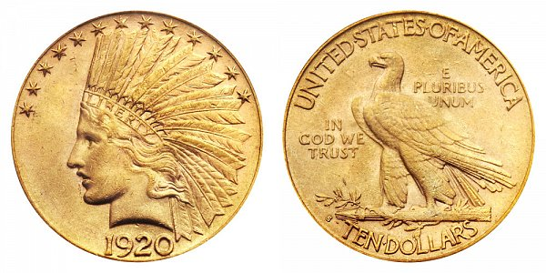 1920 S Indian Head $10 Gold Eagle - Ten Dollars