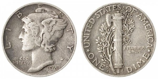 1920 S Silver Mercury Dime