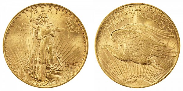 1920 S Saint Gaudens $20 Gold Double Eagle - Twenty Dollars