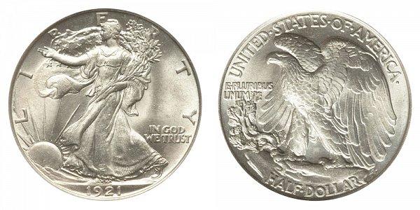 1921 Walking Liberty Silver Half Dollar