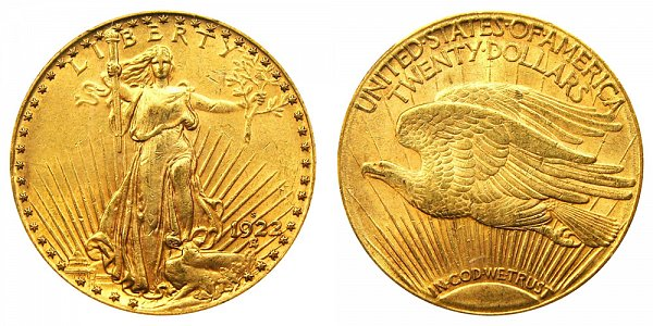 1922 S Saint Gaudens $20 Gold Double Eagle - Twenty Dollars
