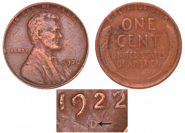 1922 Weak D Lincoln Wheat Cent Penny