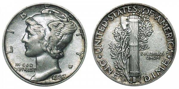 1923 S Silver Mercury Dime