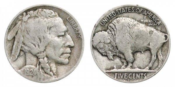 1924 D Indian Head Buffalo Nickel