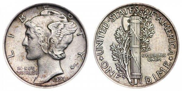 1924 Silver Mercury Dime