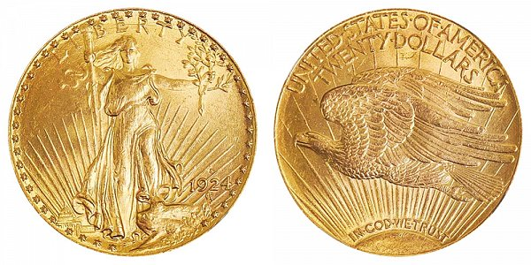 1924 S Saint Gaudens $20 Gold Double Eagle - Twenty Dollars