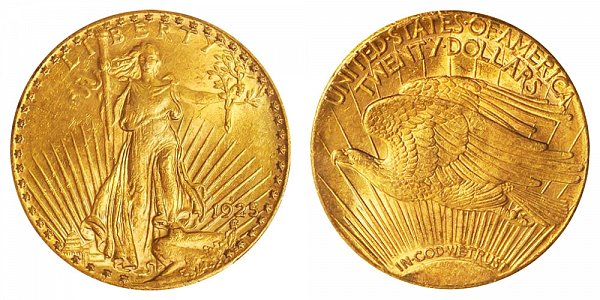 1925 S Saint Gaudens $20 Gold Double Eagle - Twenty Dollars