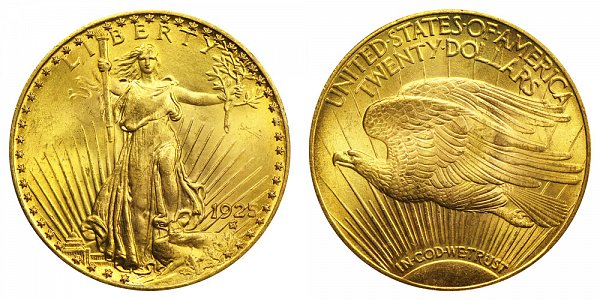 1925 Saint Gaudens $20 Gold Double Eagle - Twenty Dollars