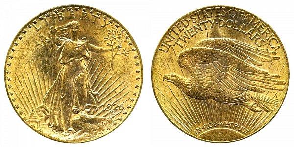 1926 D Saint Gaudens $20 Gold Double Eagle - Twenty Dollars