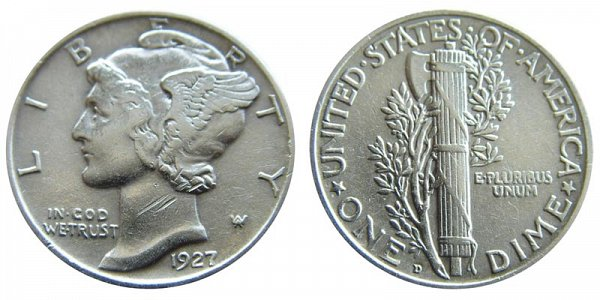 1927 D Silver Mercury Dime